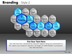 Ppt Templates Branding Process Hexagon Diagram PowerPoint Slides