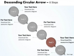 Ppt Text Circles Down Arrow 6 Practice The PowerPoint Macro Steps Business Templates