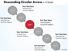 Ppt Text Circles Moving Down Arrow 6 PowerPoint Slide Numbers Business Templates