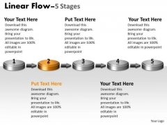 Ppt Theme 3d Linear Flow Five Steps Cause And Effect Diagram PowerPoint Template Graphic
