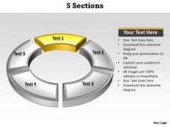 Ppt Yellow Section Highlighted In Circular Motion PowerPoint Manner Templates