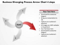 Presentation Diverging Process Arrow Chart 4 Steps Circular PowerPoint Templates