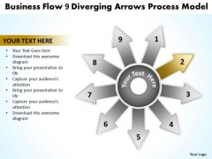 Presentation Flow 9 Diverging Arrows Process Model Cycle Diagram PowerPoint Templates