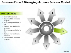Presentation Flow 9 Diverging Arrows Process Model Ppt Cycle Diagram PowerPoint Templates