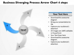 Presentations Diverging Process Arrow Chart 4 Steps Pie Diagram PowerPoint Templates