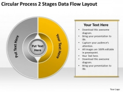 Process 2 Stages Data Flow Layout Professional Business Plan PowerPoint Slides