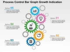 Process Control Bar Graph Growth Indication PowerPoint Template