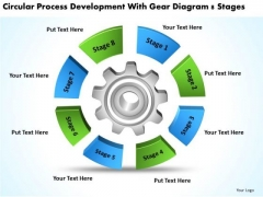 Process Development With Gear Diagram 8 Stages Business Plans PowerPoint Slides