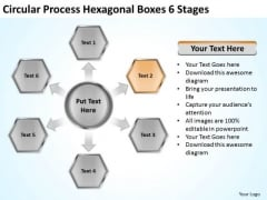 Process Hexagonal Boxes 6 Stages Tips For Writing Business Plan PowerPoint Templates