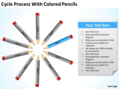 Process With Colored Pencils Business Plan Template Free PowerPoint Templates