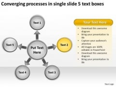 Processes In Single Slide 5 Text Boxes Circular Flow PowerPoint Templates