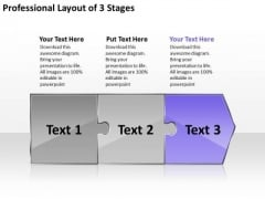 Professional Layout 3 Stages Ppt Freeware Flowchart PowerPoint Slides