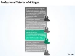 Professional Tutorial 4 Stages Operation Flow Chart PowerPoint Templates