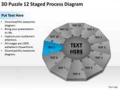 Puzzle 12 Staged Process Diagram Ppt Executive Summary Example Business Plan PowerPoint Slides