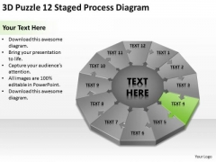 Puzzle 12 Staged Process Diagram Ppt Template For Writing Business Plan PowerPoint Templates