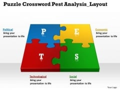 Puzzle Crossword Pest Analysis Layout Circular Flow Diagram PowerPoint Templates
