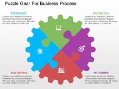 Puzzle Gear For Business Process PowerPoint Templates
