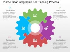 Puzzle Gear Infographic For Planning Process PowerPoint Templates