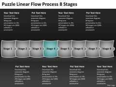 Puzzle Linear Flow Process 8 Stages Chart PowerPoint Templates