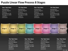 Puzzle Linear Flow Process 8 Stages Charts Examples PowerPoint Templates