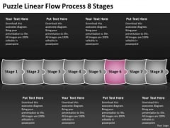 Puzzle Linear Flow Process 8 Stages Charts Office PowerPoint Templates
