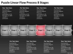 Puzzle Linear Flow Process 8 Stages Charts Samples PowerPoint Templates