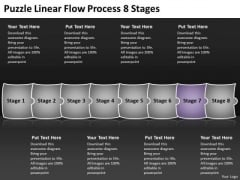 Puzzle Linear Flow Process 8 Stages PowerPoint Transformer Templates