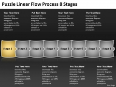 Puzzle Linear Flow Process 8 Stages Vision For Flowcharts PowerPoint Templates