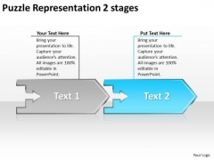 Puzzle Representation 2 Stages Order Flow Chart PowerPoint Slides