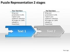 Puzzle Representation 2 Stages Ppt Flow Chart Slides Free PowerPoint