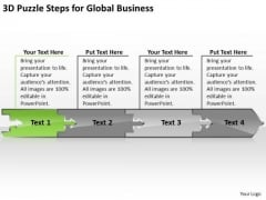 Puzzle Steps For Global Business PowerPoint Theme Plan Worksheet Slides