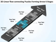 Puzzles Forming Arrow 6 Stages Creating Business Plan Step By PowerPoint Slides