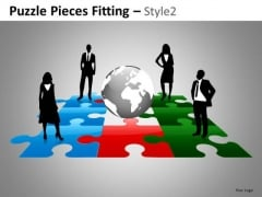 Puzzles Global Leadership Team PowerPoint Slides And Editable Ppt