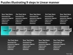Puzzles Illustrating 9 Steps Linear Manner Creating Flow Charts PowerPoint Slides