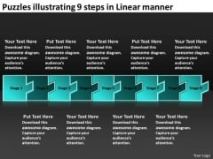 Puzzles Illustrating 9 Steps Linear Manner Flow Chart Slides PowerPoint Templates