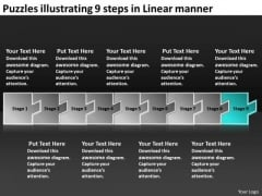 Puzzles Illustrating 9 Steps Linear Manner Manufacturing Flow Charts PowerPoint Templates