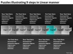 Puzzles Illustrating 9 Steps Linear Manner Online Flow Chart Maker PowerPoint Slides