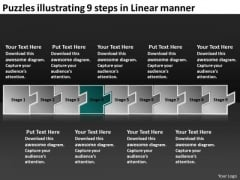 Puzzles Illustrating 9 Steps Linear Manner Operational Flow Chart PowerPoint Templates