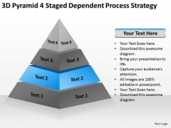 Pyramid 4 Staged Dependent Process Strategy Ppt Service Business Plan PowerPoint Slides