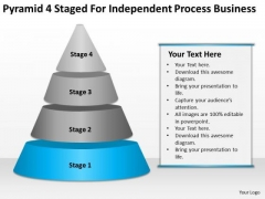 Pyramid 4 Staged For Independent Process Business Ppt Plan Outline PowerPoint Templates
