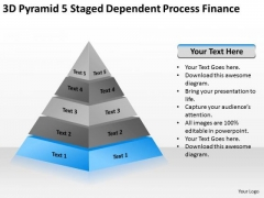 Pyramid 5 Staged Dependent Process Finance Ppt Business Plan Sample Template PowerPoint Slides