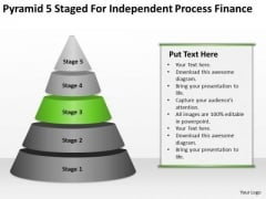 Pyramid 5 Staged For Independent Process Finance Ppt Business Plan PowerPoint Slides