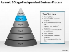 Pyramid 6 Staged Independent Business Process Ppt Plans PowerPoint Templates