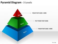 Pyramid Diagram 3 Levels PowerPoint Templates