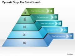 Pyramid Steps For Sales Growth PowerPoint Template