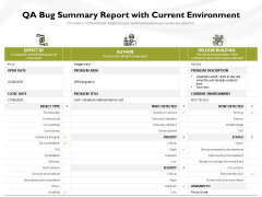 QA Bug Summary Report With Current Environment Ppt PowerPoint Presentation File Structure PDF