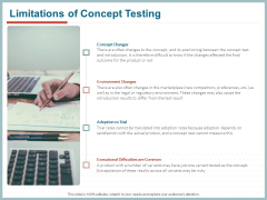 Qualitative Concept Testing Limitations Of Concept Testing Ppt PowerPoint Presentation Infographics Summary PDF
