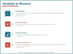 Qualitative Concept Testing Variables To Measure Ppt PowerPoint Presentation Ideas Maker PDF