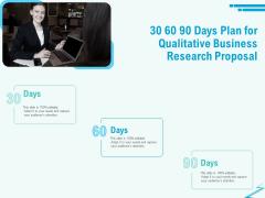 Qualitative Market Research Study 30 60 90 Days Plan For Qualitative Business Research Proposal Portrait PDF
