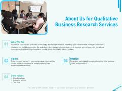 Qualitative Market Research Study About Us For Qualitative Business Research Services Portrait PDF